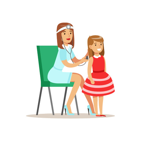 girl stethoscope: Girl Checked With Sthetoscope On Medical Check-Up With Female Pediatrician Doctor Doing Physical Examination For The Pre-School Health Inspection