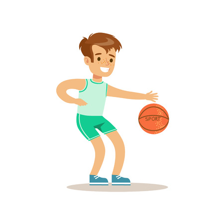 physical education: Boy Playing Basketball,Kid Practicing Different Sports And Physical Activities In Physical Education Class Illustration
