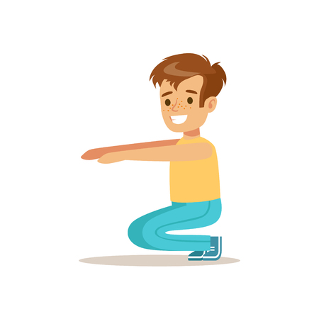 physical education: Boy Doing Sit Ups, Kid Practicing Different Sports And Physical Activities In Physical Education Class