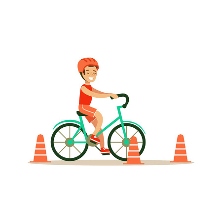 physical education: Boy Riding Bicycle, Kid Practicing Different Sports And Physical Activities In Physical Education Class Illustration