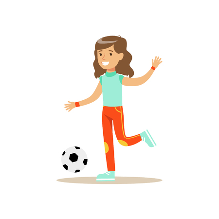 physical education: Girl Playing Football, Kid Practicing Different Sports And Physical Activities In Physical Education Class