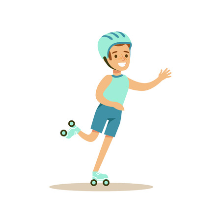 physical education: Boy Roller Skating, Kid Practicing Different Sports And Physical Activities In Physical Education Class Illustration