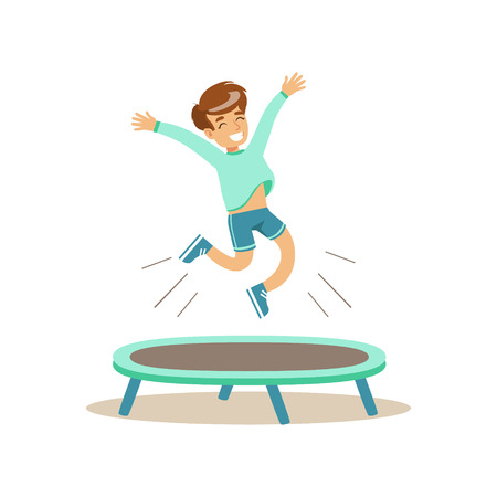 physical education: Boy Jumping On Trampoline, Kid Practicing Different Sports And Physical Activities In Physical Education Class