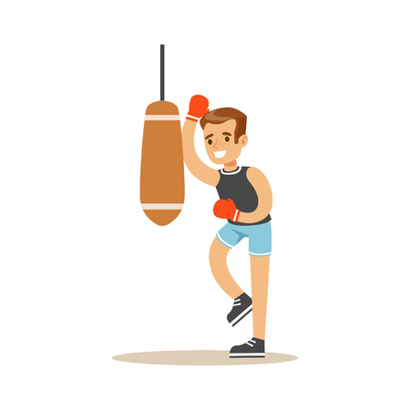 punch: Boy Boxing With Punch Bag, Kid Practicing Different Sports And Physical Activities In Physical Education Class