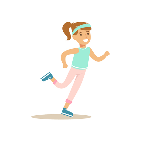 physical education: Girl Running, Kid Practicing Different Sports And Physical Activities In Physical Education Class