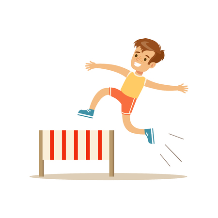 physical education: Boy Hurdle Racing, Kid Practicing Different Sports And Physical Activities In Physical Education Class