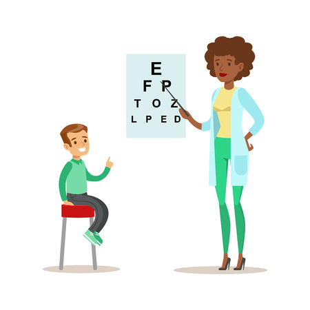 Boy Checkeing His Eyesight With Chart On Medical Check-Up With Female Pediatrician Doctor Doing Physical Examination For The Pre-School Health Inspection Illustration