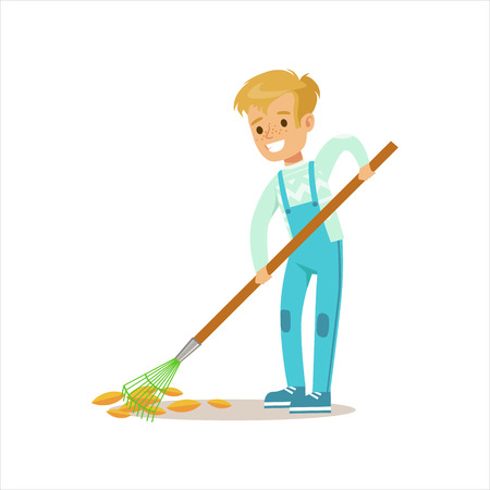 dungarees: Boy Collecting Fallen Leaves With Rake Helping In Eco-Friendly Gardening Outdoors Part Of Kids And Nature Series