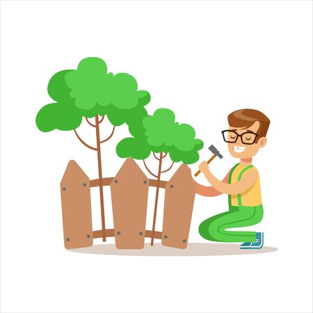 Boy Building Wooden Fence Around Plants Helping In Eco-Friendly Gardening Outdoors Part Of Kids And Nature Series