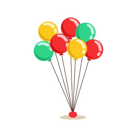 helium: Bunch Of Flying Helium Multicolor Party Balloons, Kids Birthday Party Scene With Cartoon Smiling Character Illustration