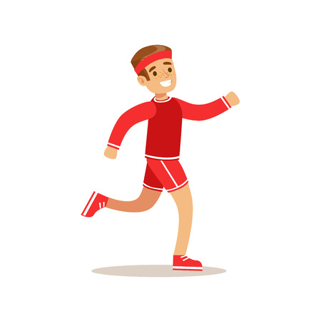 physical education: Boy Running, Kid Practicing Different Sports And Physical Activities In Physical Education Class