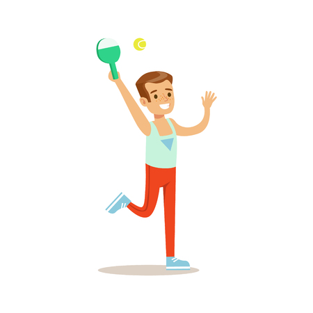 physical education: Boy Playing Badminton, Kid Practicing Different Sports And Physical Activities In Physical Education Class Illustration