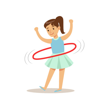 hulahoop: Girl Doing Hula-hoop, Kid Practicing Different Sports And Physical Activities In Physical Education Class Illustration