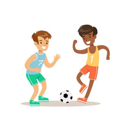 Niños jugando al fútbol Kid La práctica de diferentes deportes y actividades físicas en clase de educación física Ilustración de vector