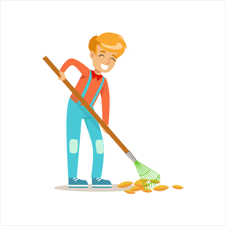 fallen: Boy Raking Fallen Autumn Leaves Helping In Eco-Friendly Gardening Outdoors Part Of Kids And Nature Series Illustration