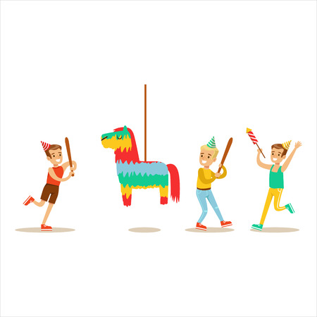 birthday party kids: Kids Playing With Horse Shaped Pinata, Kids Birthday Party Scene With Cartoon Smiling Character