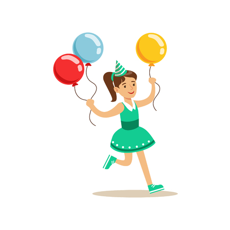 Girl Running With Three Multicolor Party Balloons Kids Birthday Scene Cartoon Smiling Character
