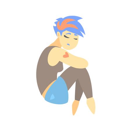 Sad Teenage Girl With Tattoo Feeling Blue, Part Of Depressed Female Cartoon Characters Series Illustration