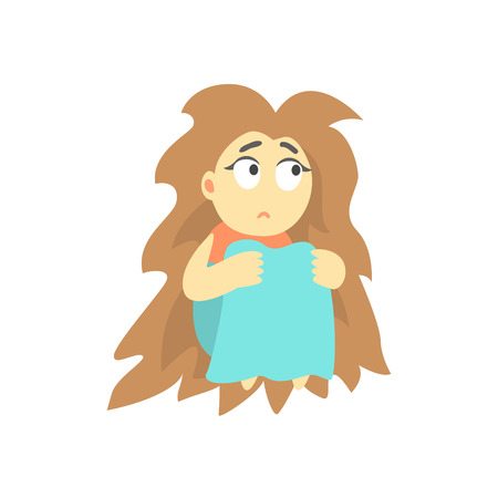 bushy: Sad Girl With Bushy Hair Sitting Feeling Blue, Part Of Depressed Female Cartoon Characters Series
