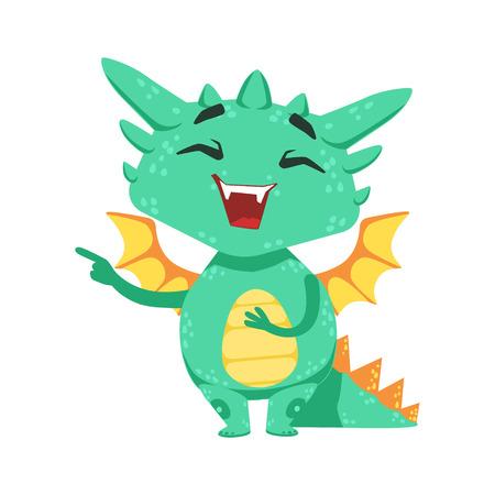 mocking: Little Anime Style Baby Dragon Laughing And Mocking Cartoon Character Emoji Illustration