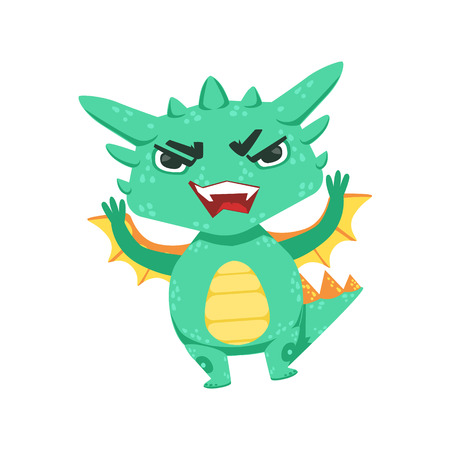 offence: Little Anime Style Baby Dragon Angry In Offence Cartoon Character Emoji Illustration Illustration