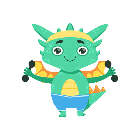 Little Anime Style Baby Dragon Exercising With Dumbbells Cartoon Character Emoji Illustration