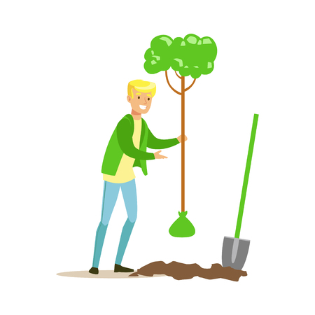 Man Planting A Tree , Contributing Into Environment Preservation By Using Eco-Friendly Ways Illustration Illustration