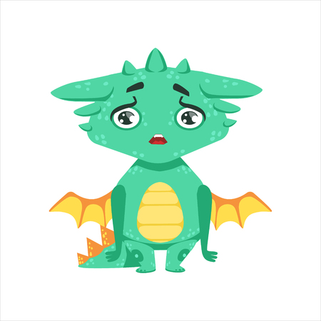 disappoint: Little Anime Style Baby Dragon Upset And Disappointed Cartoon Character Emoji Illustration Illustration