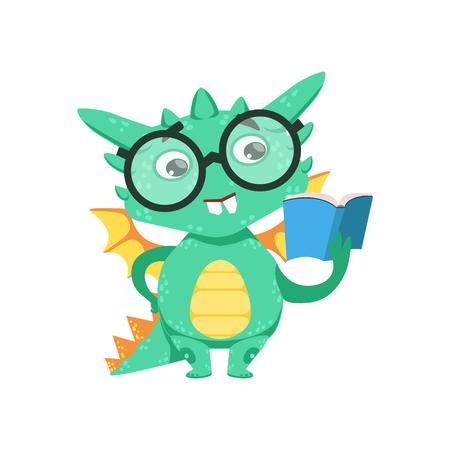 bookworm: Little Anime Style Smart Bookworm Baby Dragon Reading A Book Cartoon Character Emoji Illustration