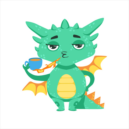 Little Anime Style Baby Dragon Warming Up Tea With Fire Cartoon Character Emoji Illustration