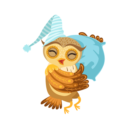 Owl Sleeping Cute Cartoon Character Emoji With Forest Bird Showing Human Emotions And Behavior
