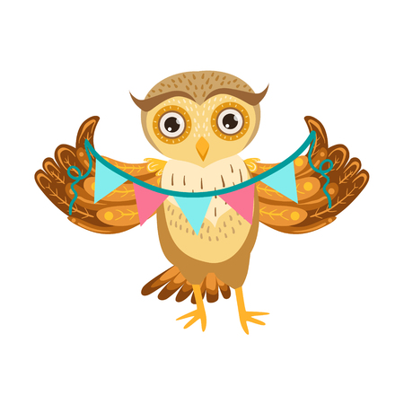 Owl Holding Paper Garland Cute Cartoon Character Emoji With Forest Bird Showing Human Emotions And Behavior