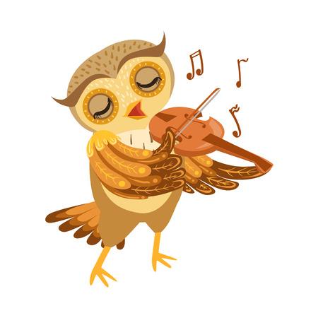 인간의 감정과 행동을 보여주는 숲 조류와 귀여운 만화 문자 이모티콘 올빼미 연주 바이올린 일러스트