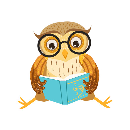 bookworm: Owl Reading The Book Cute Cartoon Character Emoji With Forest Bird Showing Human Emotions And Behavior