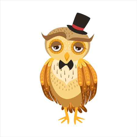 Gentleman Owl In Top Hat Cute Cartoon Character Emoji With Forest Bird Showing Human Emotions And Behavior Illustration