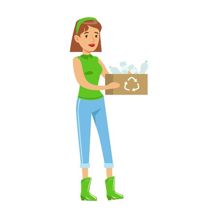 contributing: Woman Carrying A Crate WIth Recyclable Plastic Waste , Contributing Into Environment Preservation By Using Eco-Friendly Ways Illustration Illustration