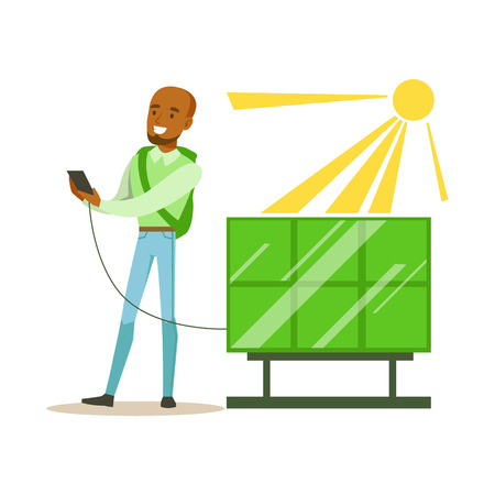 contributing: Man Charging His Smartphone From Solar Panel Battery , Contributing Into Environment Preservation By Using Eco-Friendly Ways Illustration Illustration