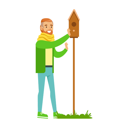 Man Instralling Bird House , Contributing Into Environment Preservation By Using Eco-Friendly Ways Illustration