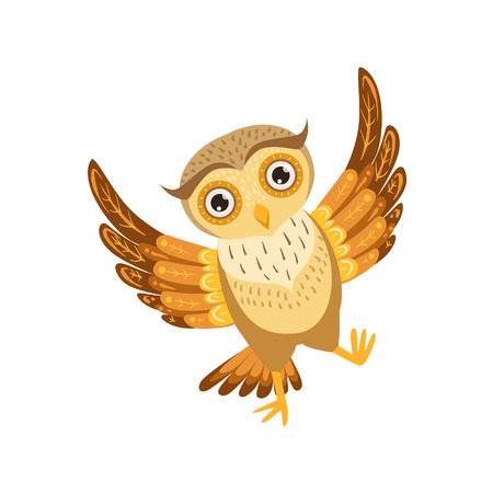Happy Owl Cute Cartoon Character Emoji With Forest Bird Showing Human Emotions And Behavior