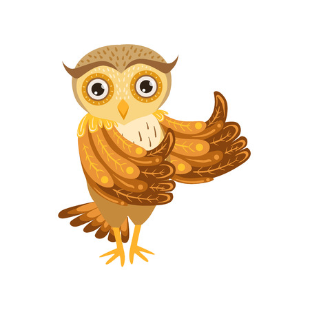 Owl Showing Thumbs Up Cute Cartoon Character Emoji With Forest Bird Showing Human Emotions And Behavior Illustration
