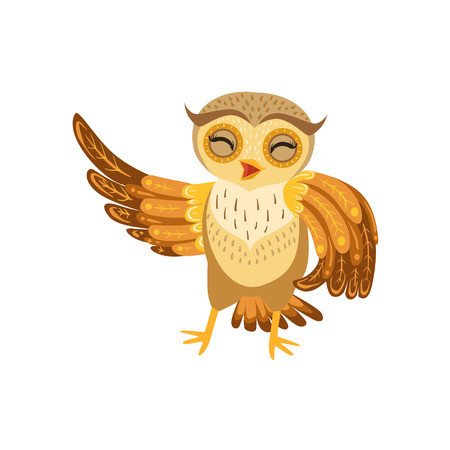 mocking: Owl Laughing Cute Cartoon Character Emoji With Forest Bird Showing Human Emotions And Behavior