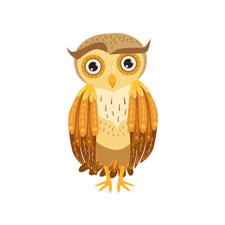 eyebrow raised: Sceptic Owl Cute Cartoon Character Emoji With Forest Bird Showing Human Emotions And Behavior