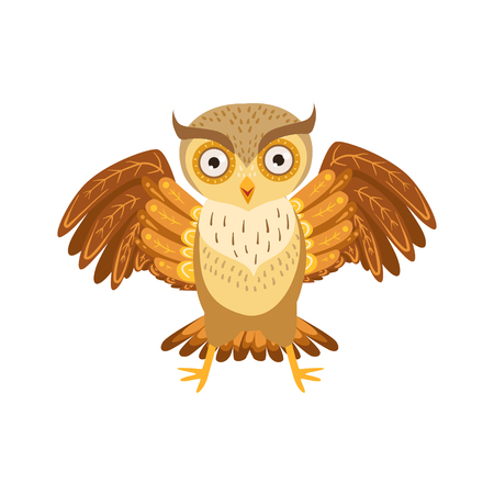 Angry Owl Cute Cartoon Character Emoji With Forest Bird Showing Human Emotions And Behavior