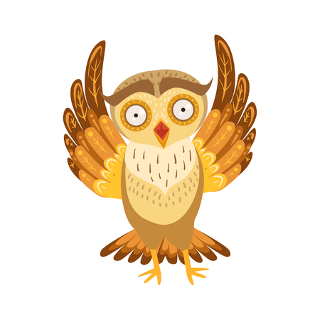 Scared Owl Cute Cartoon Character Emoji With Forest Bird Showing Human Emotions And Behavior Illustration