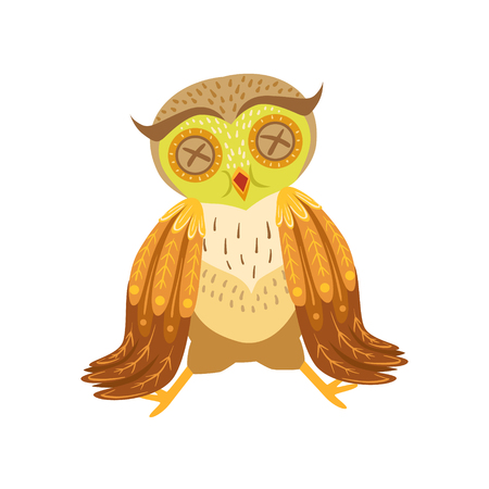 Sick Owl Cute Cartoon Character Emoji With Forest Bird Showing Human Emotions And Behavior