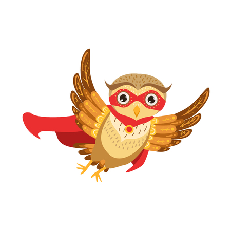 Owl Superhero Cute Cartoon Character Emoji With Forest Bird Showing Human Emotions And Behavior Illustration