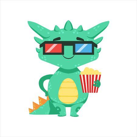 작은 안경 스타일 아기 용 3D 극장판 만화 영화 이모티콘 일러스트 레이션의 극장에서