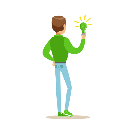 Man Holding A Green Energy Lamp , Contributing Into Environment Preservation By Using Eco-Friendly Ways Illustration Illustration