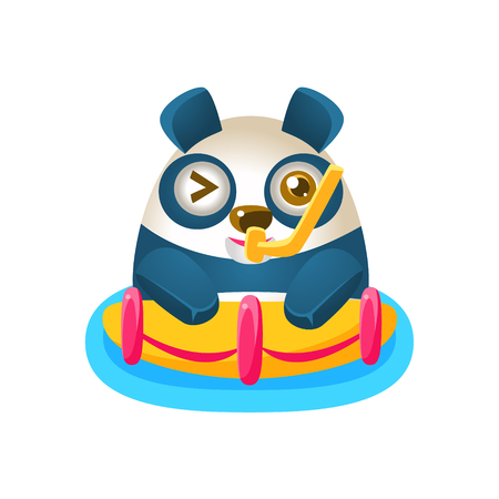 Cute Panda Activity Illustration With Humanized Cartoon Bear Character With Snorkel And A Buoy. Funny Animal In Fantastic Situation Vector Emoji Drawing. Illustration