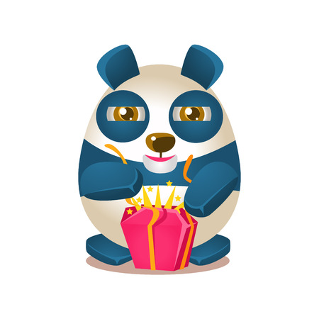 Cute Panda Activity Illustration With Humanized Cartoon Bear Character Opening A Present. Funny Animal In Fantastic Situation Vector Emoji Drawing. Illustration